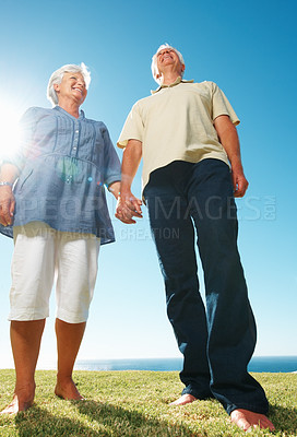 Buy stock photo Low angle view of happy senior couple holding arms and standing together on grass
