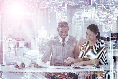 Buy stock photo Multiple exposure shot of a two colleagues looking at blueprints superimposed on a cityscape