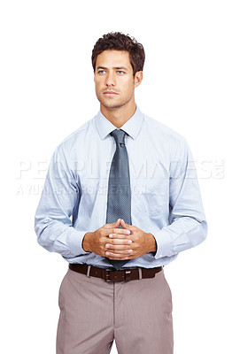 Buy stock photo Portrait of a young male executive looking away at copyspace against white background