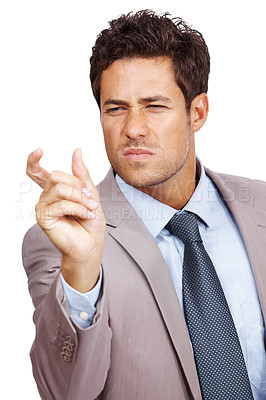 Buy stock photo Portrait of a successful young business man fingers showing small size over white background