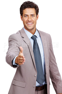Buy stock photo Portrait of a smiling young business man offering a welcoming hand isolated on white background