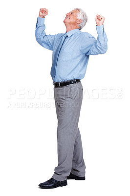 Buy stock photo Successful and excited senior businessman with arms raised isolated on white background