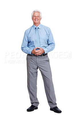 Buy stock photo Portrait of a successful mature business man standing relaxed isolated over white background