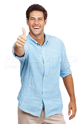 Buy stock photo Portrait of a happy young man showing good job sign against white background