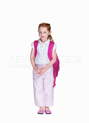 Buy stock photo Full length of an innocent girl with backpack isolated on white