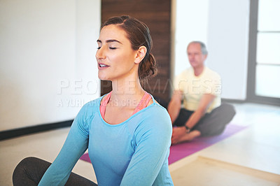 Buy stock photo Cropped shot of a yoga instructor guiding a senior man in a yoga class