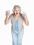 Surprised mature woman holding cash in hands on white