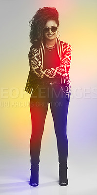 Buy stock photo Portrait of a fashionable young woman posing in a studio