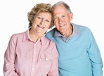 Happy senior couple standing together isolated against white