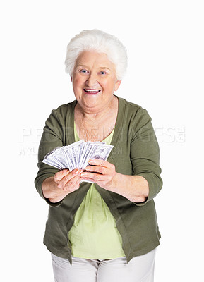 Buy stock photo Portrait of a happy mature woman holding dollars against white background