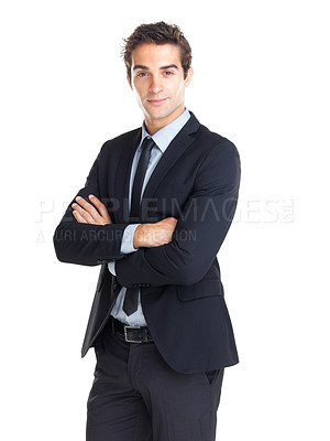 Buy stock photo Handsome young businessman with hands folded isolated against white background