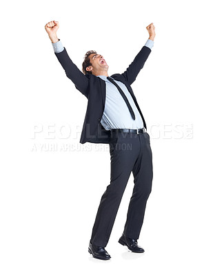 Buy stock photo Excited handsome business man with arms raised in success - Isolated on white
