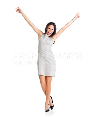 Buy stock photo Happy caucasian businesswoman with hands raised celebrating her victory isolated on white background