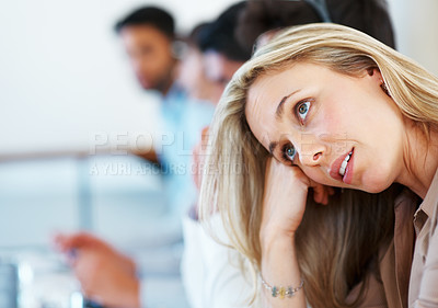Buy stock photo Closeup of pretty business woman with colleagues in background
