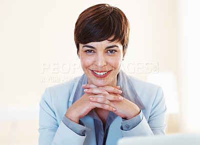 Buy stock photo Portrait of business woman giving you warm smile
