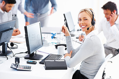 Buy stock photo Portrait of happy female customer service executive looking at you and smiling