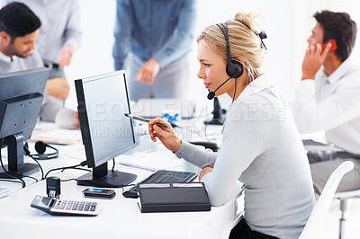 Buy stock photo Female support phone operator using headset and computer