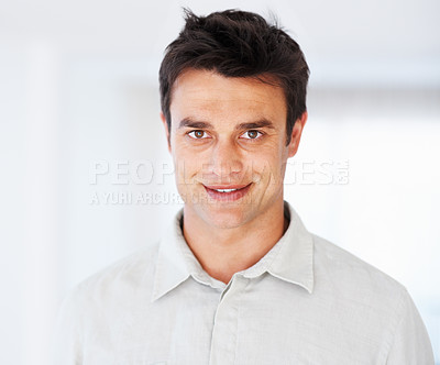 Buy stock photo Closeup of handsome business man on white background - copyspace