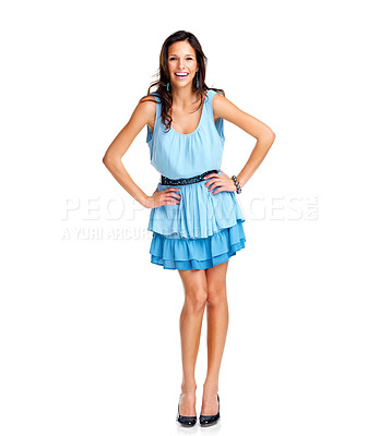Buy stock photo Portrait of pretty happy young woman smiling against white background