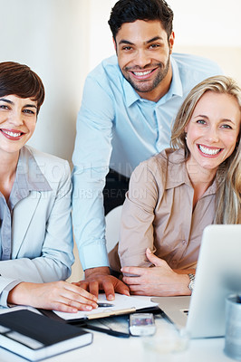 Buy stock photo Portrait of executives smiling and looking at you