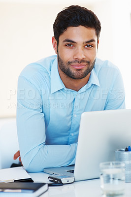 Buy stock photo Portrait of confident business man with laptop sitting at his desk
