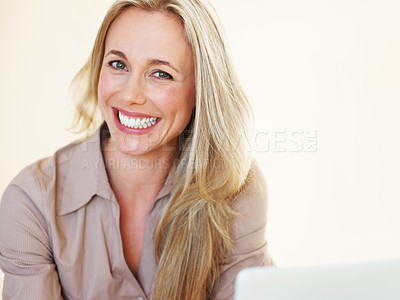 Buy stock photo Closeup of attractive business woman looking at you and smiling - copyspace