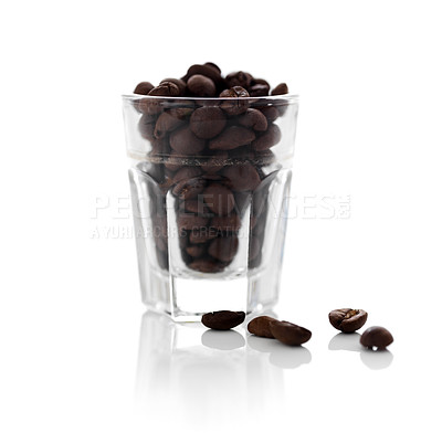Buy stock photo One glass full of coffee beans on white background