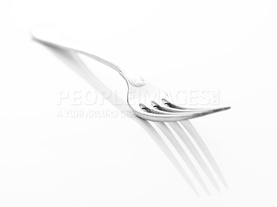 Buy stock photo kitchen utensil - One stainless steel fork isolated on white background