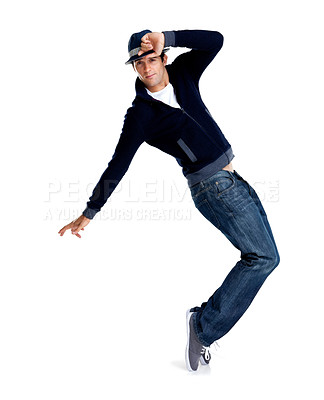 Buy stock photo Smart young male dancer performing a move isolated over white background - Standing on toes