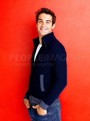 Buy stock photo Portrait of stylish young man posing against red background