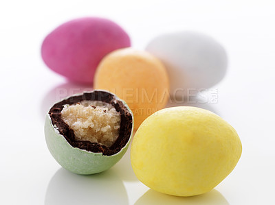 Buy stock photo Colorful chocolate easter eggs isolated on white background