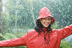 Woman smiling in rainy weather