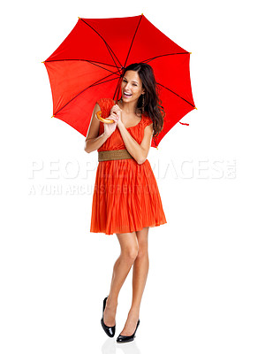 Buy stock photo Portrait of happy young woman with a red umbrella on white background