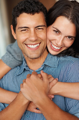 Buy stock photo Closeup of happy woman embracing man from behind