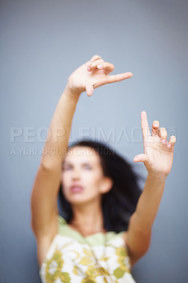 Buy stock photo Woman creating frame with her hands