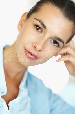 Buy stock photo Closeup portrait of pretty woman looking at you