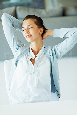 Buy stock photo Portrait of pretty woman relaxing with hands behind head