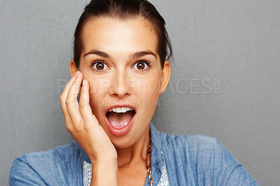 Buy stock photo Closeup of young woman with surprised look