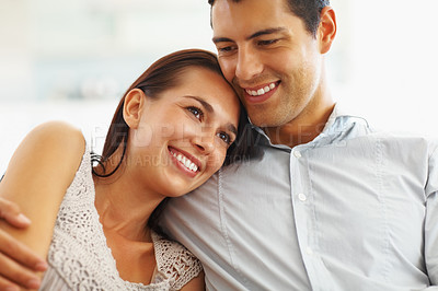 Buy stock photo Young happy woman resting on her boyfriend's shoulder