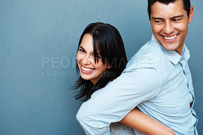 Buy stock photo Portrait of playful couple smiling together