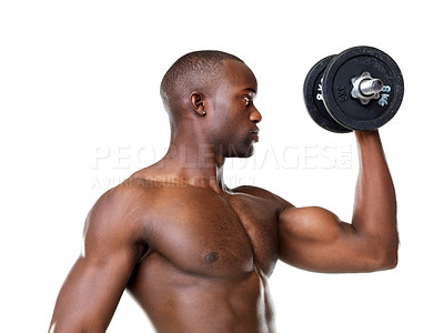 Buy stock photo Portrait of a fit young man doing workout with dumbbell against white background