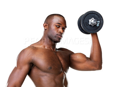 Buy stock photo Portrait of a healthy young guy doing workout with dumbbell against white background