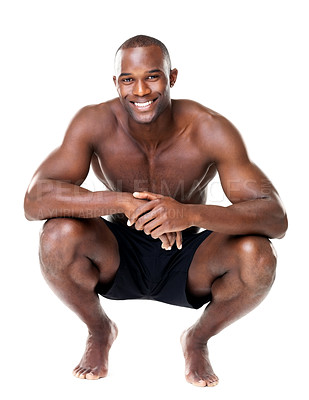 Buy stock photo Sporty handsome African guy crouching on floor isolated over white background