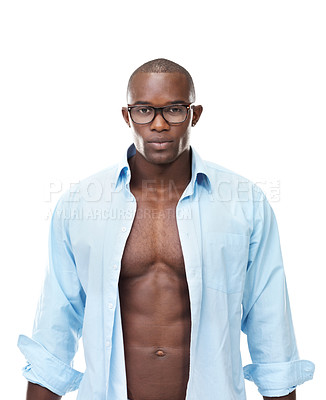 Buy stock photo Portrait of a sexy young african american man looking confidently against white background