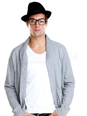 Buy stock photo Portrait of a young attractive man looking confident on white background