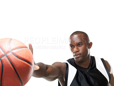 Buy stock photo Portrait of a young african american male player catching the ball against white background