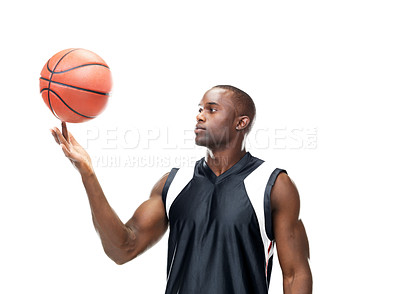 Buy stock photo Portrait of a attractive young man playing with the basketball  against white background