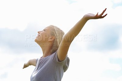 Buy stock photo Young pretty female enjoying the sun