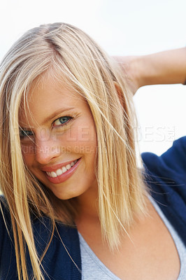 Buy stock photo Closeup of an attractive blond smiling
