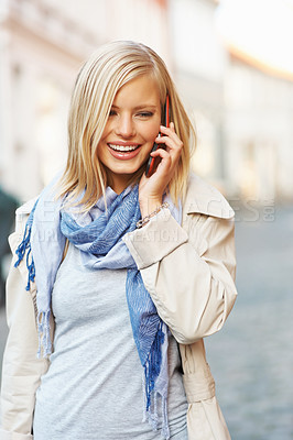 Buy stock photo Beautiful teenage woman using cell phone - outdoors